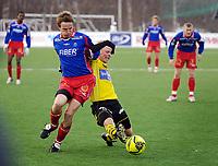 Fotball, Adecco-ligaen, 23.04.06, Tromsdalen - Moss<br /> Morten Giæver (Tromsdalen) og Christian Michelsen (Moss)<br /> Foto: Tom Benjaminsen, Digitalsport