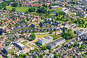 Nederland, Gelderland, Achterhoek, 29-05-2019; overzichtsfoto centrum  Winterswijk met onder andere Spoelerij - Tricotfabriek en oude technische school.<br /> Overview city centre Winterswijk with industrial monuments.<br /> <br /> luchtfoto (toeslag op standard tarieven);<br /> aerial photo (additional fee required);<br /> copyright foto/photo Siebe Swart