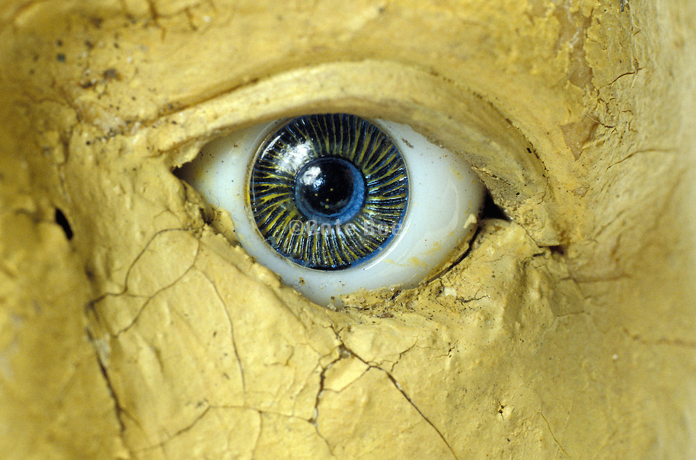 close up of eye on a sculpture