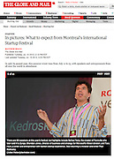 Paul Kedrosky at the Montreal International Startup Festival - Photo slideshow in The Globe and Mail (July 2012)