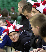 Twickenham, Surrey, 4th December 2004, The Gartmore Challenge Rugby Cup,  Barbarians vs New Zealand, RFU Stadium, England,<br /> Young rugby fans<br /> <br /> [Mandatory Credit; Peter Spurrier/Intersport Images]