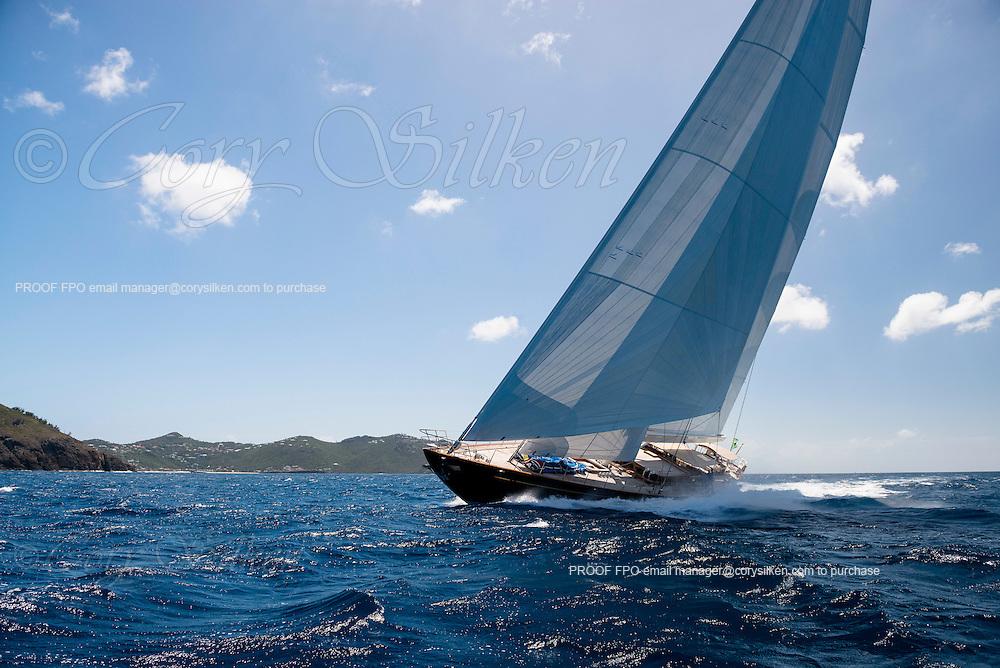 Wisp sailing in the St. Barth's Bucket Regatta.