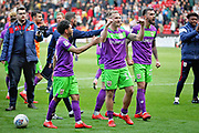 Bristol City forward Andreas Weimann (14) celebrates in from of the City fans after the EFL Sky Bet Championship match between Sheffield United and Bristol City at Bramall Lane, Sheffield, England on 30 March 2019.
