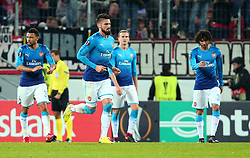 Arsenal cut dejected figures after conceding a goal - Mandatory by-line: Robbie Stephenson/JMP - 23/11/2017 - FOOTBALL - RheinEnergieSTADION - Cologne,  - Cologne v Arsenal - UEFA Europa League Group H