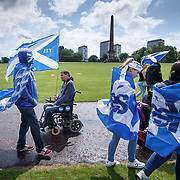 Pro Scottish independence march.  Marchers head home from Glasgow Green after the rally. The Gorbals in the background.<br /> <br /> Picture Robert Perry for PA Images. 3rd June 2017