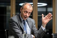 08 NOV 2018, BERLIN/GERMANY:<br /> Friedrich Merz, CDU, Rechtsanwalt, Manager und Kandidat fuer das Amt des Bundesvorsitzenden der CDU, waehrend einem Interview, Pariser Platz 6a<br /> IMAGE: 20181108-03-012