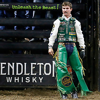 BILLINGS, MT - SEPTEMBER 11: Jess Lockwood celebrates following his ride of bull One For The Money during the PBR Ariat Invitational, on September 11, 2020, at the First Interstate Arena - Metrapark, Billings, MT. (Photo by Chris Elise)