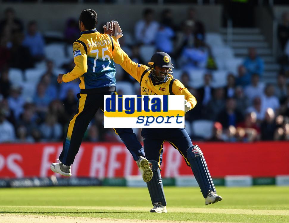Cricket - 2019 ICC Cricket World Cup - Group Stage: England vs. Sri Lanka<br /> <br /> Sri Lanka's Kusal Perera celebrates catching England's Adil Rashid off the bowling of Dhananjaya de Silva, at Headingley, Leeds<br /> <br /> COLORSPORT/ASHLEY WESTERN