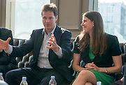 ***EMBARGO UNTIL 0001 FRIDAY 18th JULY 2014***© Licensed to London News Pictures. 16/07/2014. London, UK. NICK CLEGG and JO SWINSON talk to employees.  Deputy Prime Minister and Leader of the Liberal Democrats Nick Clegg visits Tesco in Kensington to meet staff along with Jo Swinson. The Liberal Democrats will say in their 2015 manifesto that they will require large companies to publish the average salary of their male and female employees, increasing public pressure for equal pay. Tesco are one of the companies that currently publish this information voluntarily under the Government's Think, Act, Report scheme.. Photo credit : Stephen Simpson/LNP
