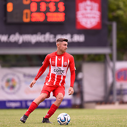 BRISBANE, AUSTRALIA - MARCH 4: Steve Whyte of Olympic in action during the NPL Queensland Senior Mens Round 5 match between Olympic FC and SWQ Thunder at Goodwin Park on March 4, 2017 in Brisbane, Australia. (Photo by Patrick Kearney/Olympic FC)