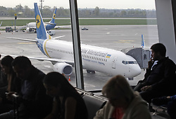 April 25, 2018 - Kiev, Ukraine - Passengers wait in the premises of the Boryspil International airport near Kiev, Ukraine, 25 April, 2018. (Credit Image: © Str/NurPhoto via ZUMA Press)