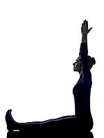 woman exercising stretching yoga silhouette shadow white background