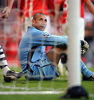 A Dejected Heurelho Gomes after Berbatov's 5th goal<br /> Tottenham Hotspur 2008/09<br /> Manchester United V Tottenham Hotspur (5-2) 25/04/09<br /> The Premier League<br /> Photo Robin Parker Fotosports International