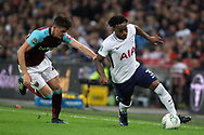 Danny Rose of Tottenham Hotspur (R) goes past Sam Byram of West Ham United (L). EFL Carabao Cup, 4th round match, Tottenham Hotspur v West Ham United at Wembley Stadium in London on Wednesday 25th October 2017.<br /> pic by Steffan Bowen, Andrew Orchard sports photography.