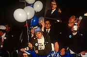 Supporters of British Prime Minister, John Major celebrate their partys re-election after replacing Margaret Thatcher, on 10th April 1992, outside Central Office in Smiths Square, London England. Major won the election and was the fourth consecutive victory for the Conservative Party although it was its last outright win until 2015 after Labours 1997 win for Tony Blair.