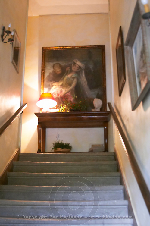Mas de Perry, Mas Nicot. Terrasses de Larzac. Languedoc. France. Europe. Stairs leading up to the upper floor and dining room.