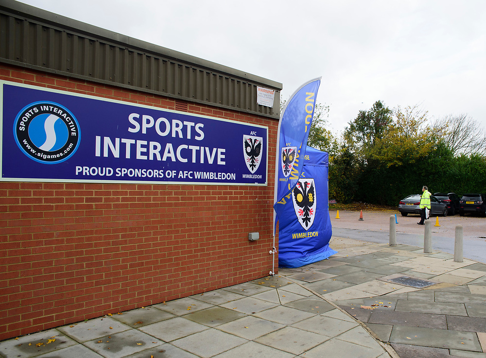 A general view of The Cherry Red Records Stadium, commonly known as Kingsmeadow, home of AFC Wimbledon<br /> <br /> Photographer Andrew Vaughan/CameraSport<br /> <br /> The EFL Sky Bet League One - AFC Wimbledon v Lincoln City - Saturday 2nd November 2019 - Kingsmeadow Stadium - London<br /> <br /> World Copyright © 2019 CameraSport. All rights reserved. 43 Linden Ave. Countesthorpe. Leicester. England. LE8 5PG - Tel: +44 (0) 116 277 4147 - admin@camerasport.com - www.camerasport.com