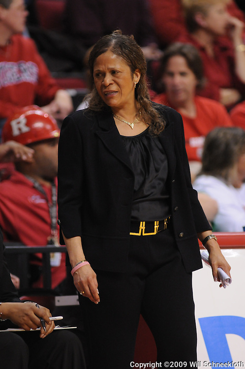 Feb 24, 2009; Piscataway, NJ, USA; Rutgers head coach C. Vivian Stringer reacts to a play during the second half of Rutgers' 71-52 victory over Cincinnati at the Louis Brown Athletic Center.