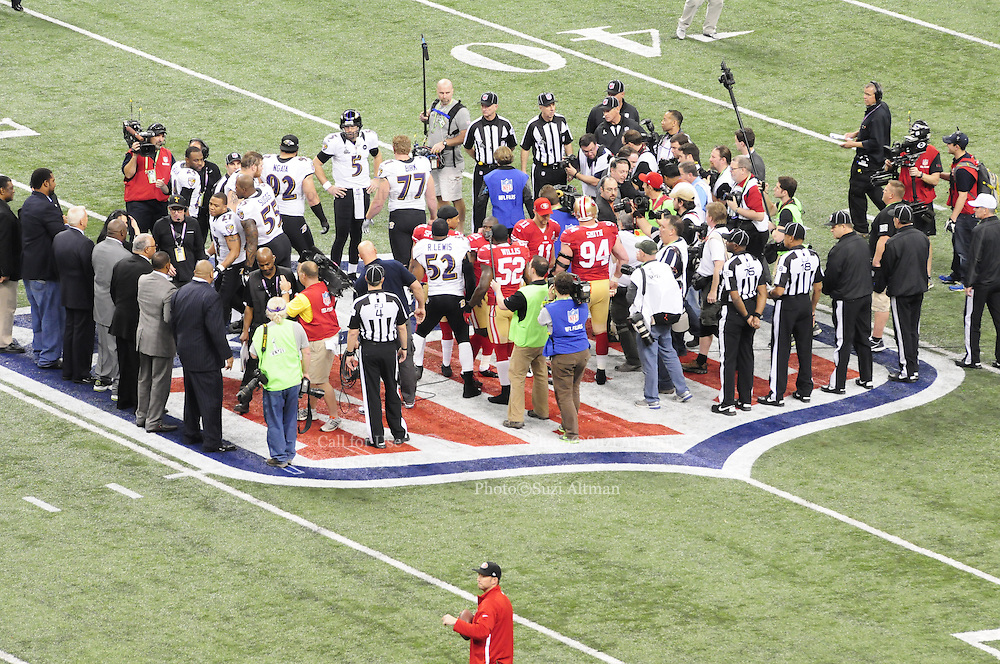 2/3/13 New Orleans LA.-NFL Security and fans get ready for Super Bowl XLV11 outside the Mercedes Benz Super Dome. The Francisco 49er's take on the Baltimore Ravens Sunday Feb. 3, 2013. The ravens went on to win 34-31. Photo©Suzi Altman
