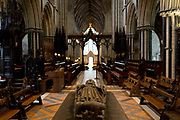 The tomb of King John 1167-1216 in Worcester Cathedral, on 23rd June 2019, in Worcester, England. King John was the fourth and youngest son of Henry II.