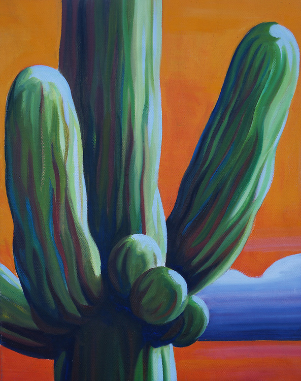 SOLD<br /> Stately saguaros dot the Sonoran Desert, each with their own personality.<br /> 11 x 14, oil on canvas