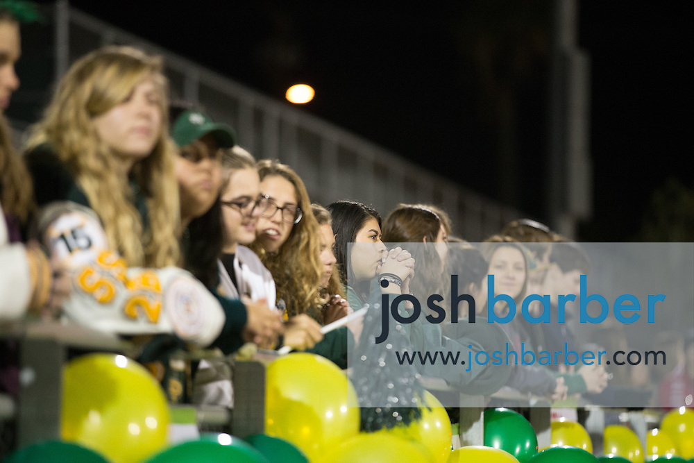 Notre Dame fans during the CIF-SS Boys Football Northwest Division Semifinal at J.W. North High School on Friday, November 27, 2015 in Riverside, California. (Photo/Josh Barber)