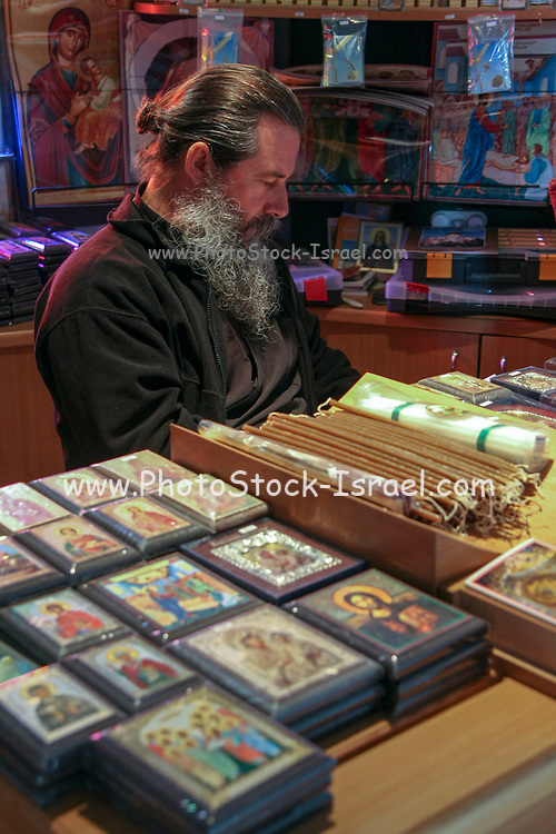 Israel Capernahum sea of galilee, The souvenir shop in the Greek Orthodox Church of the Twelve Apostles