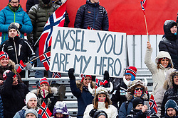 February 9, 2019 - Re, SWEDEN - 190209 Fans of Norway's Aksel Lund Svindal at the men's downhill during the FIS Alpine World Ski Championships on February 9, 2019 in re..Photo: Joel Marklund / BILDBYRN / kod JM / 87853 (Credit Image: © Joel Marklund/Bildbyran via ZUMA Press)