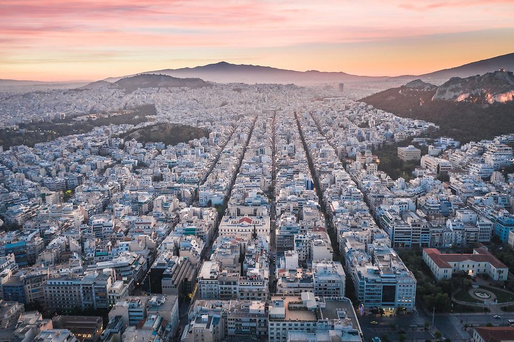 Sunset over Athina, Greece