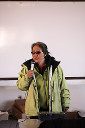 USA ALASKA POINT HOPE 22JUL12 - A resident speaks during the community meeting at Point Hope, North Slope Borough, Alaska. ..Point Hope is one of the oldest continually occupied sites in North America.....Photo by Jiri Rezac / Greenpeace....© Jiri Rezac / Greenpeace