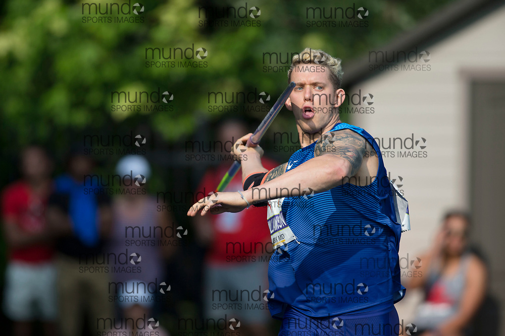 Toronto, ON -- 11 August 2018: Capers Williamson (USA), javelin at the 2018 North America, Central America, and Caribbean Athletics Association (NACAC) Track and Field Championships held at Varsity Stadium, Toronto, Canada. (Photo by Sean Burges / Mundo Sport Images).