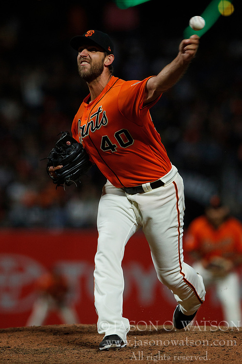 SAN FRANCISCO, CA - JULY 13: Madison Bumgarner #40 of the San Francisco Giants pitches against the Oakland Athletics during the sixth inning at AT&T Park on July 13, 2018 in San Francisco, California. The San Francisco Giants defeated the Oakland Athletics 7-1. (Photo by Jason O. Watson/Getty Images) *** Local Caption *** Madison Bumgarner