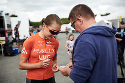 Sara Poidevin (CAN) signs an autograph before GP de Plouay - Lorient Agglomération Trophée WNT, a 128 km road race in Plouay, France on August 31, 2019. Photo by Sean Robinson/velofocus.com