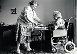 Carer & disabled elderly woman UK 1991
