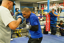 Rancho Cucamonga, California/USA (Tuesday, Nov 12 2013) - Super middleweight champion Andre Ward (26-0, 14 KOs) works out during the Ward vs Rodriguez Media Workout at the Warzone Boxing Club in Rancho Cucamonga, CA USA. Andre have not fought in over a year due to right shoulder surgery. He is facing Edwin Rodriguez (24-0, 16 KOs) at the Citizens Business Bank Arena in Ontario, California. The Ward-Rodriguez bout will be televised live on HBO at 9:30PM PST. PHOTO © SILVEXPHOTO.COM.