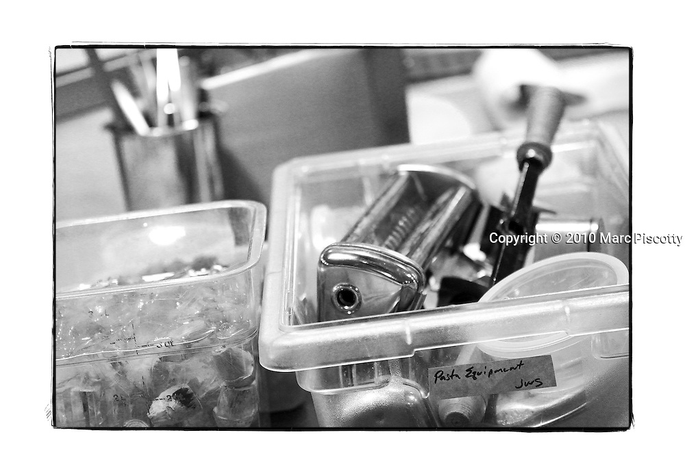 SHOT 12/11/10 3:58:20 PM - Pasta making equipment and tools at Frasca Food and Wine in Boulder, Co. Frasca is a highly-rated neighborhood restaurant inspired by the cuisine and culture of Friuli, Italy. Historically found throughout Friuli, Frascas were friendly and informal gathering places, a destination for farmers, friends, and families to share a meal and a bottle of wine. Identified by a tree branch hanging over a doorway portal, they were a symbol of local farm cuisine, wine, and warm hospitality. (Photo by Marc Piscotty / © 2010)