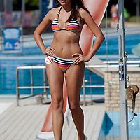 Anett Gyorfi participates the Miss Bikini Hungary beauty contest held in Budapest, Hungary on August 29, 2010. ATTILA VOLGYI