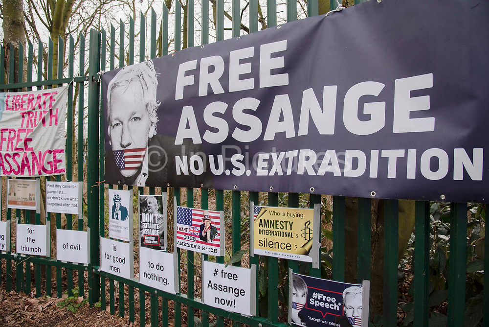 Banners belonging to supporters of WikiLeaks founder Julian Assange  outside Woolwich Crown Court during his extradition hearing on 25th February 2020 in London, United Kingdom. Wikileaks founder Julian Assange is wanted in the United States to face charges of attempted hacking and breaches of the espionage act, related to the publication of classified US military documents. He faces a maximum of 175 years in prison.