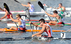 JONAS EMS (GERMANY) COMPETES IN MEN'S K1 RELAY 200 METERS FINAL A RACE DURING 2010 ICF KAYAK SPRINT WORLD CHAMPIONSHIPS ON MALTA LAKE IN POZNAN, POLAND...POLAND , POZNAN , AUGUST 22, 2010..( PHOTO BY ADAM NURKIEWICZ / MEDIASPORT ).