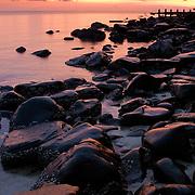 Wet rocks along tropical island beach at sunset (Koh Kood (Ko Kut) island, Thailand - Oct. 2008) (Image ID: 081015-1900232a)