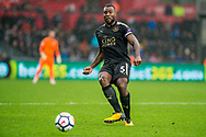 Wes Morgan of Leicester City in action. Premier league match, Swansea city v Leicester city at the Liberty Stadium in Swansea, South Wales on Saturday 21st October 2017.<br /> pic by Aled Llywelyn, Andrew Orchard sports photography.