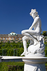 statue in park at Palace Sans Souci in Potsdam Germany