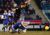 Picture: Henry Browne.<br /> Date: 26/02/2005.<br /> Gillingham v Wigan Athletic Coca Cola Championship.<br /> Lee McCulloch of Wigan is taken out by Gills Paul Smith.