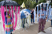 Extinction Rebellion activists dressed as jellyfish at the Marine Rebellion march on 6th September 2020 in London, United Kingdom. Ocean Rebellion, Sea Life Extinction, Animal Rebellion and Extinction Rebellion joined together to celebrate the biodiversity found in our seas, and to grieve at the destruction of the Earth's oceans and marine life due to climate breakdown and human interference, and the loss of lives, homes and livelihoods from rising sea levels. Extinction Rebellion is a climate change group started in 2018 and has gained a huge following of people committed to peaceful protests. These protests are highlighting that the government is not doing enough to avoid catastrophic climate change and to demand the government take radical action to save the planet.