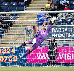 Falkirk's keeper Danny Rogers with East Fife's Kevin Smith's free kick. Falkirk 3 v 1 East Fife, Petrofac Training Cup played 25th July 2015 at The Falkirk Stadium.