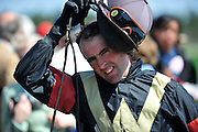 27 March 2010 : Richard Boucher prepares to weigh out after placing second in the Camden Plate Maiden Hurdle.