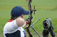 Paralympics London 2012 - ParalympicsGB - Archery Womens Individual Compound Open  30th August 2012<br />   <br /> Mel Clarke competing in the Womens Archery Individual Compound - Open Heats at the Paralympic Games in London. Photo: Richard Washbrooke/ParalympicsGB