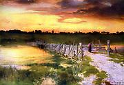 The Golden Hour', c1912. After Thomas Moran (1837-1926) English-born American artist.  Landscape Sunset Evening River Road Bridge Wooden Peace Tranquillity