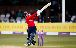 Essex's Adam Wheater bowled for 78 by Yorkshire's Steven Patterson during the One Day Cup, Quarter Final at the Cloudfm County Ground, Essex.