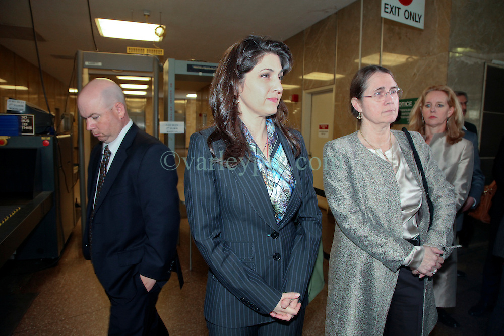 01 June  2015. New Orleans, Louisiana. <br /> L/R/ Ryan LeBlanc, his sister Rita Benson LeBlanc and their mother Renee LeBlanc leave Civil Distrcit Court where they attended a hearing to determine the competency of grandfather/father Tom Benson. Benson is the billionaire owner of the NFL New Orleans Saints, the NBA New Orleans Pelicans, various Mercedes dealerships, banks, property assets and a slew of business interests. Rita, her brother and mother demanded a competency hearing after Benson changed his succession plans and decided to leave the bulk of his estate to third wife Gayle, sparking a controversial fight over control of the Benson business empire.<br /> Photo©; Charlie Varley/varleypix.com